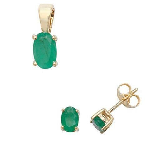 Emerald Pendant and Earrings Set Oval Solitaire 9ct Yellow Gold Hallmarked